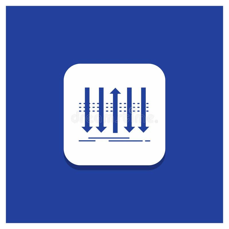 Blå rund knapp för pilen, affär, skillnad som är framåt, egenartskårasymbol vektor illustrationer