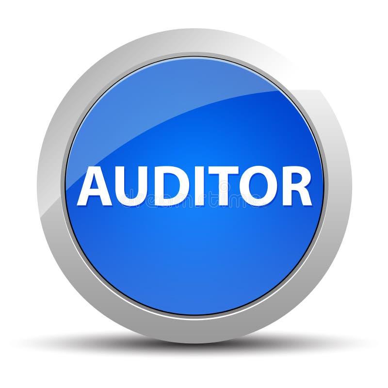 Blå rund knapp för revisor stock illustrationer