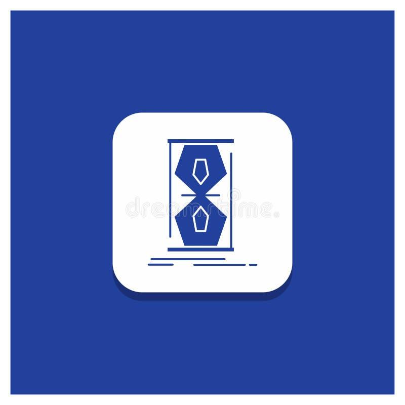 Blå rund knapp för tillträde, klocka som är tidig, sandklocka, tidskårasymbol vektor illustrationer