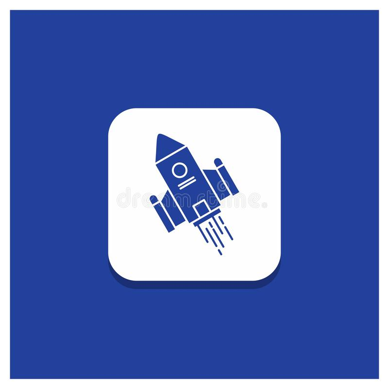 Blå rund knapp för utrymmehantverket, anslutning, utrymme, raket, lanseringsskårasymbol stock illustrationer