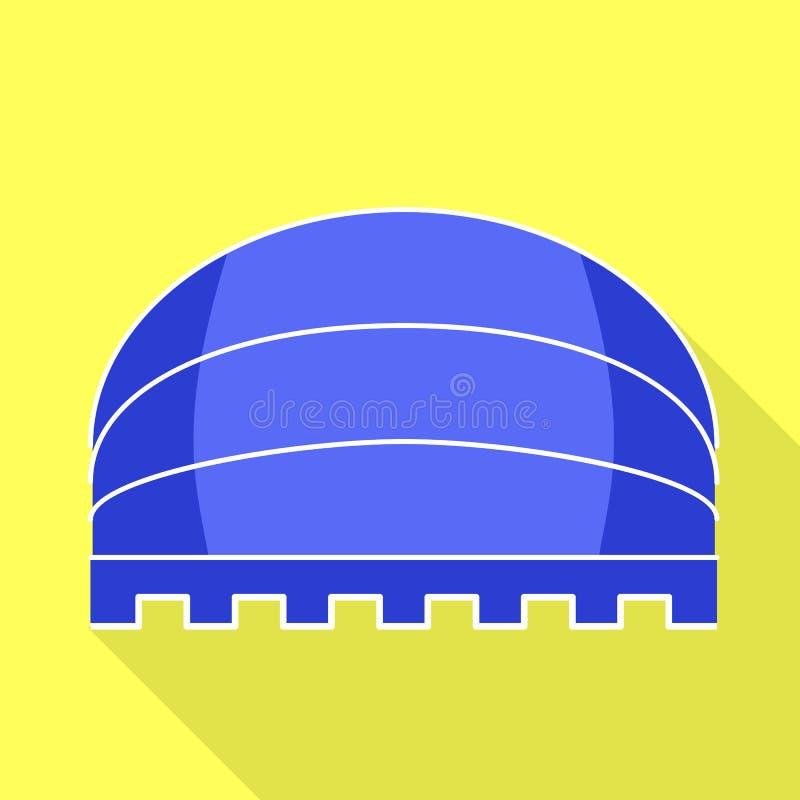 Blå rund markissymbol, plan stil stock illustrationer