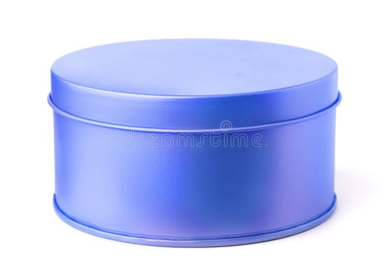 Blå rund metallask royaltyfria bilder