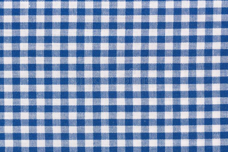 Blå rutig lantlig borddukbakgrund Högt upplösningsfoto royaltyfri foto