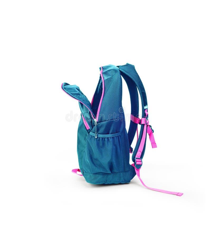 Blå ryggsäck som är öppet som isoleras royaltyfri fotografi