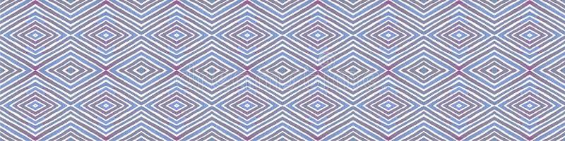 Blå sömlös gränssnirkel Geometrisk vattenfärg stock illustrationer