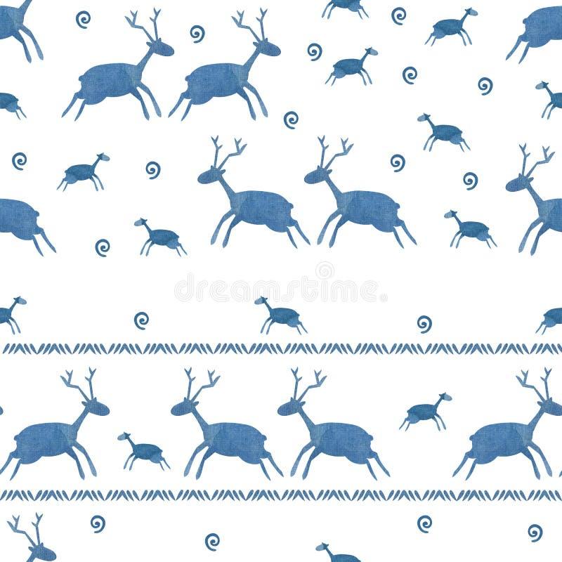 Blå sömlös hjortvattenfärgmodell stock illustrationer