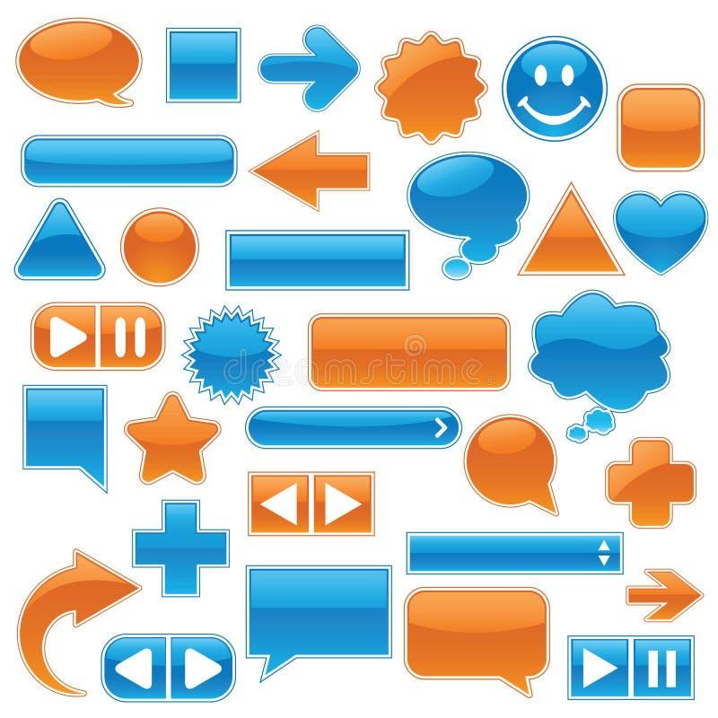 blå samlingsorangerengöringsduk stock illustrationer