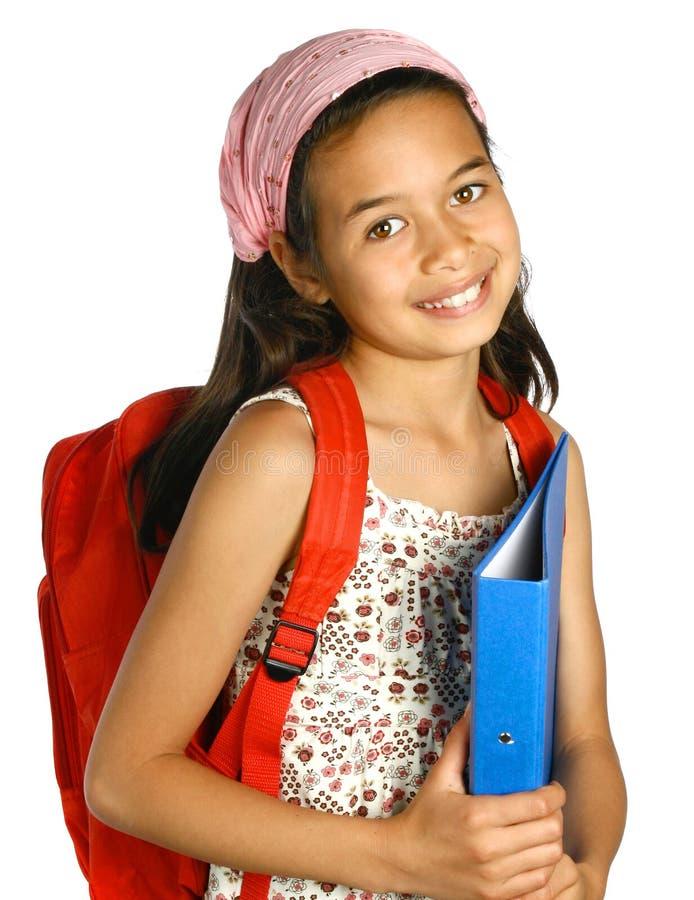 blå schoolgirl för mix för etnicitetmappholding royaltyfri fotografi