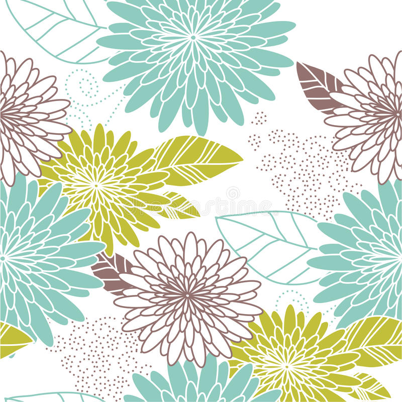 blå seamless blommagreen för bakgrund royaltyfri illustrationer