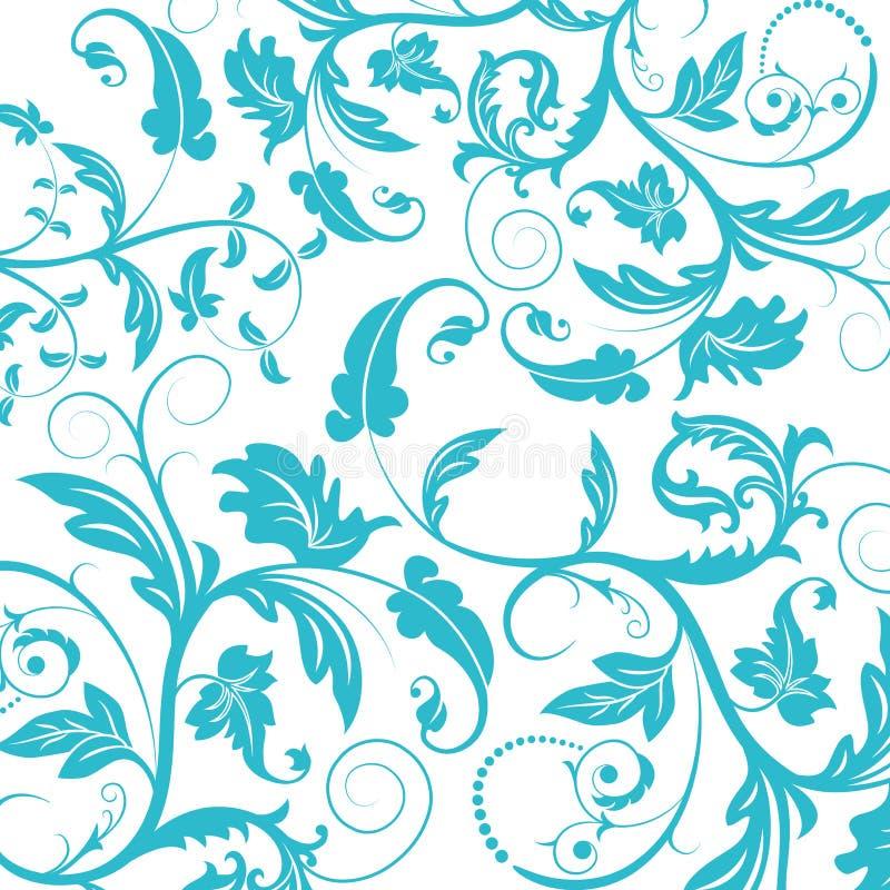 blå seamless blommamodell stock illustrationer