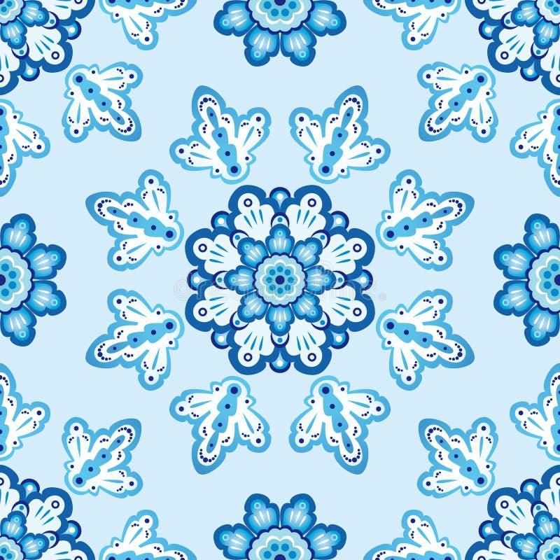 blå seamless blommamodell royaltyfria foton
