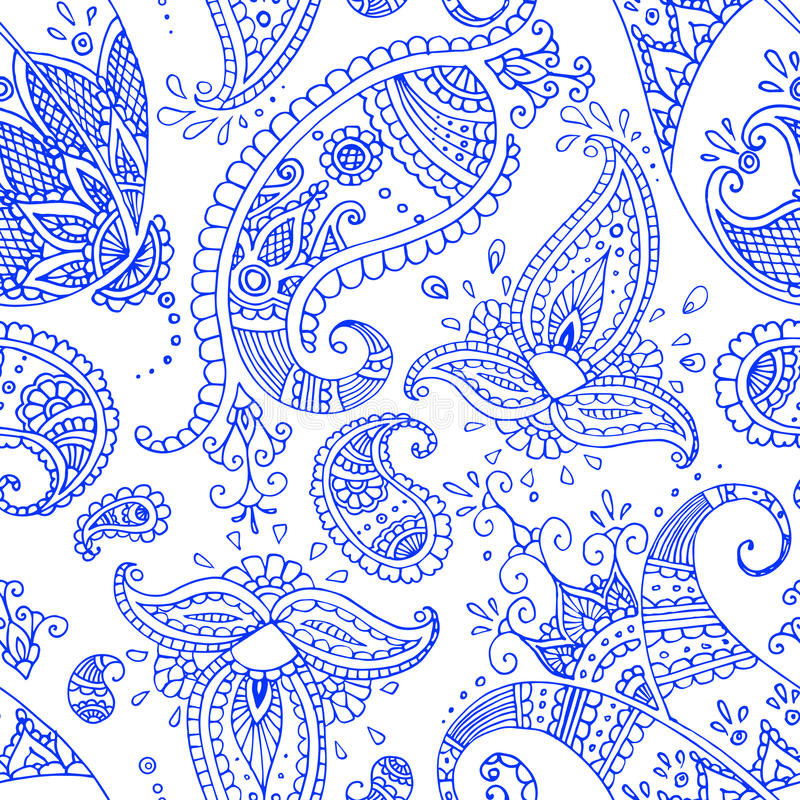 blå seamless paisley modell vektor illustrationer