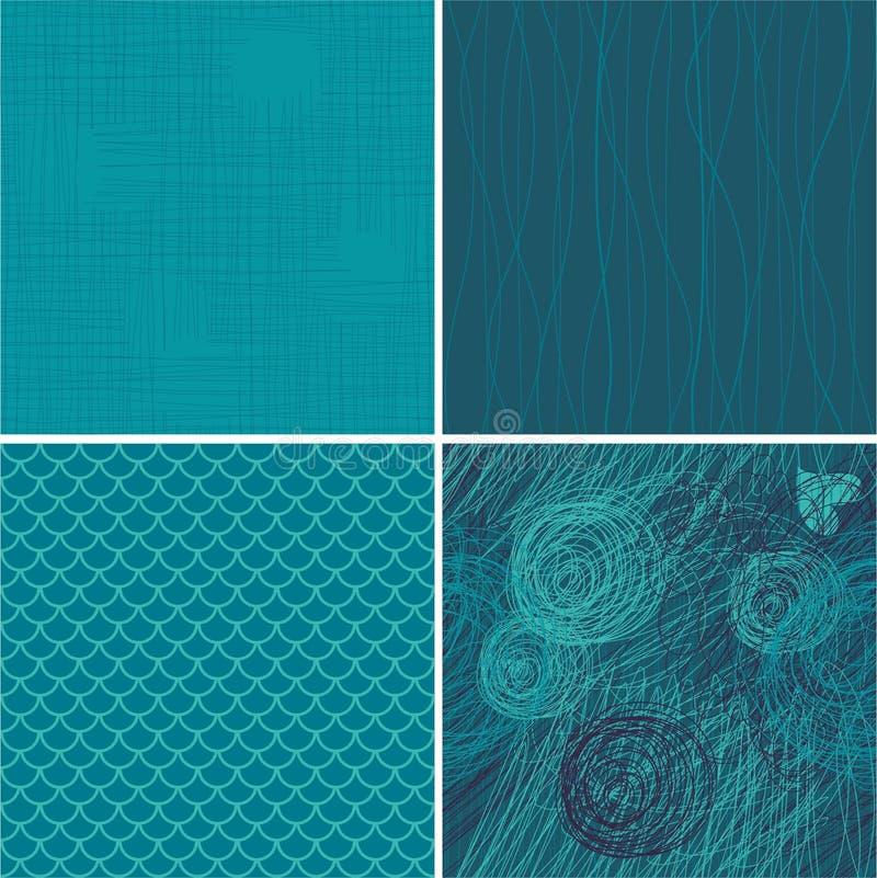 blå seamless setvektor för 4 bakgrunder royaltyfri illustrationer