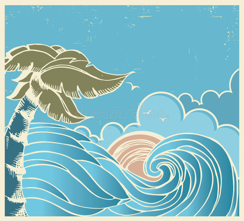 Blå seascape med den stora vågen och solen på den gamla affischen stock illustrationer