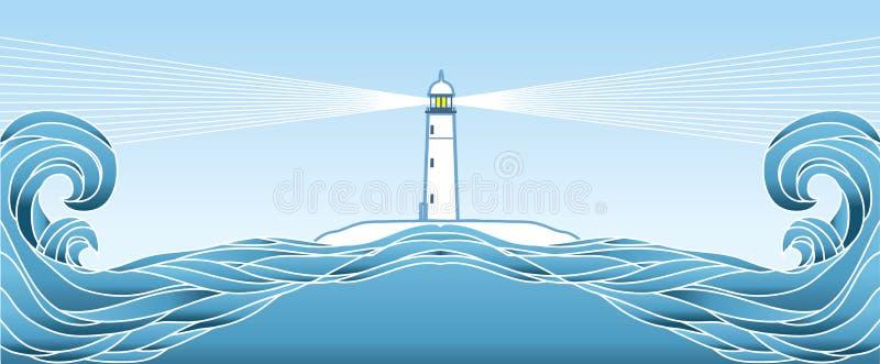 Blå seascapehorisont. Vektorillustration vektor illustrationer