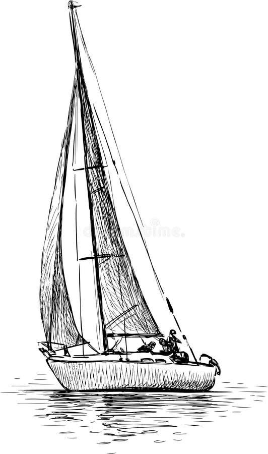 blå seglinghavsyacht stock illustrationer