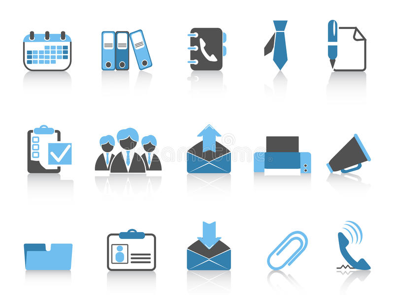 blå serie för affärssymbolskontor royaltyfri illustrationer