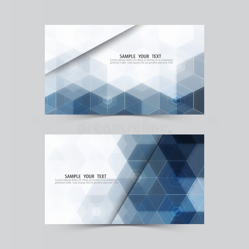 Blå sexhörning abstrakt bakgrund inställda baner Inbjudanmall, kreditkortar, affärskort, gåvakort vektor illustrationer