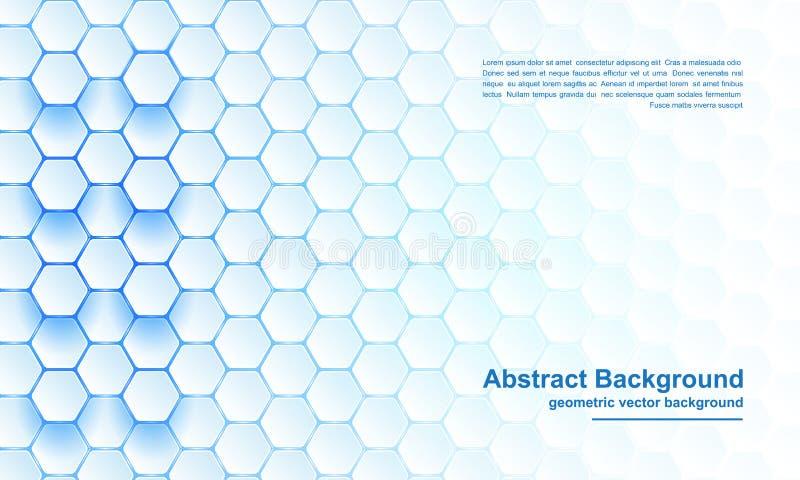 Blå sexhörningsbakgrund, modernt abstrakt begrepp, futuristisk geometrisk vektorbakgrund stock illustrationer