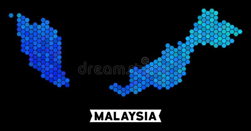 Blå sexhörningsMalaysia översikt stock illustrationer
