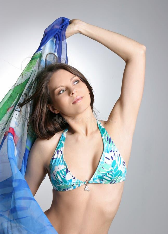 blå sexig kvinna för härlig bikini royaltyfri bild
