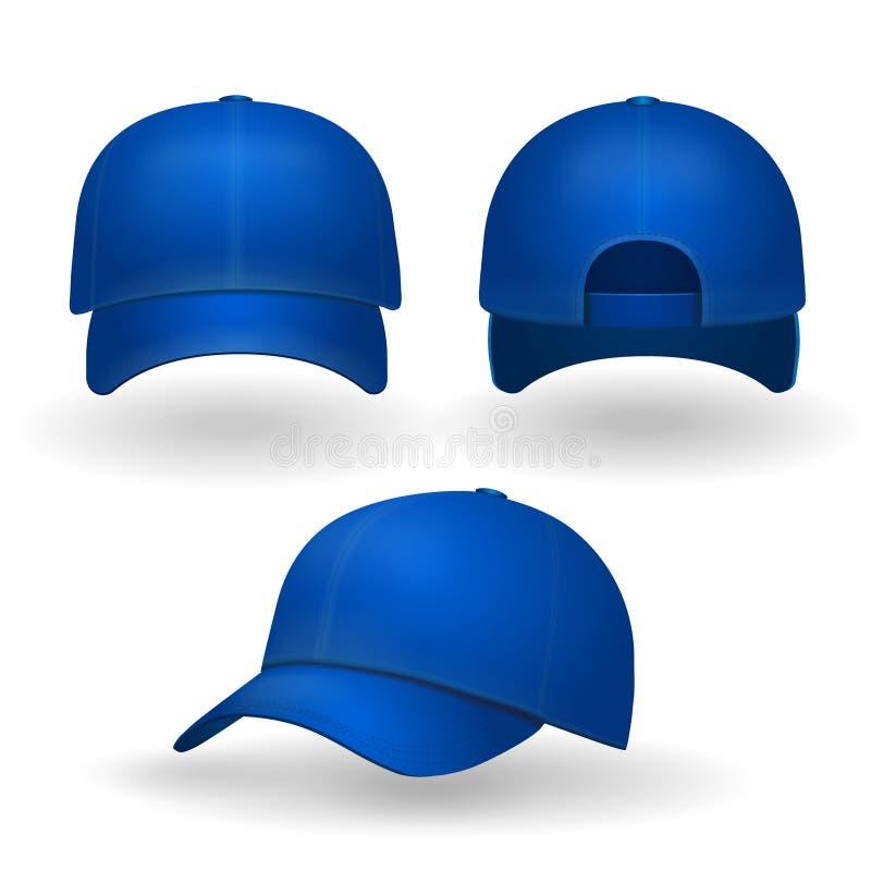 Blå sikt för främre sida för baseballmössauppsättning som isoleras på vit bakgrund stock illustrationer