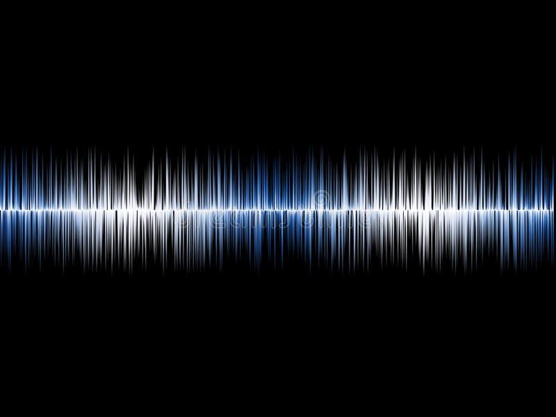 Blå silver Soundwave med svart bakgrund royaltyfri illustrationer