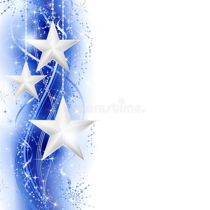 Blå silverstjärnakant royaltyfri illustrationer