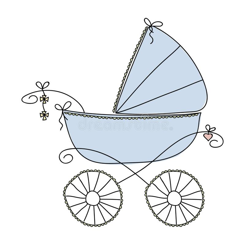 Blå sittvagn för en pojke Vektorfrihandsteckning stock illustrationer