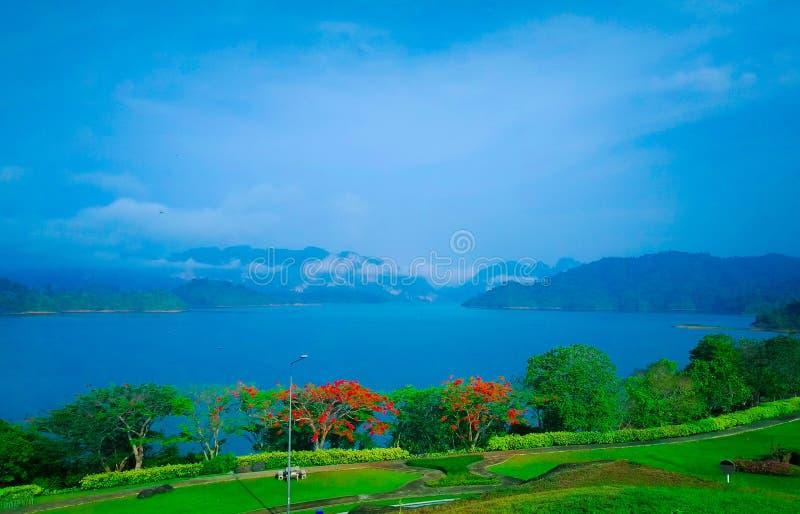 Blå sjö Mountain View med härliga blommaträd royaltyfri fotografi