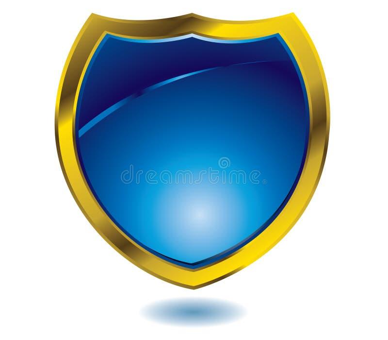blå sköld royaltyfri illustrationer