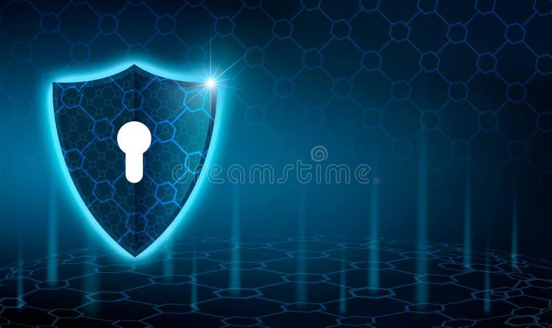 Blå sköldaffärsidé för vektor av bakgrund för blå sköld för dataskydd blå royaltyfri illustrationer