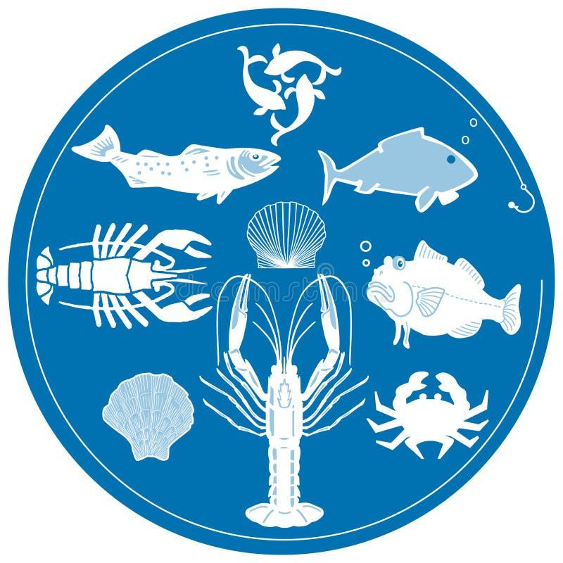 blå skaldjur vektor illustrationer