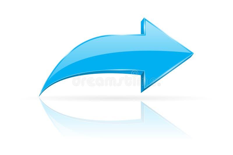 Blå skinande pil 3d Nästa rengöringsduktecken royaltyfri illustrationer