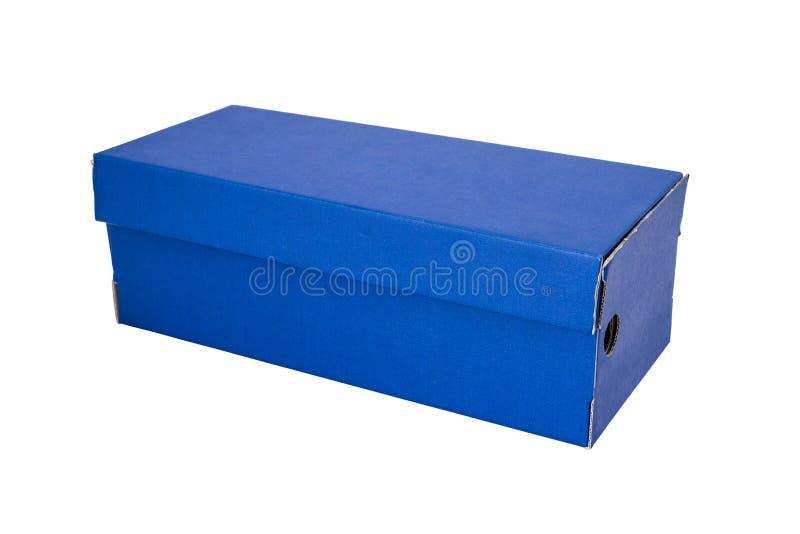 Blå skoask som isoleras på vit bakgrund arkivfoto