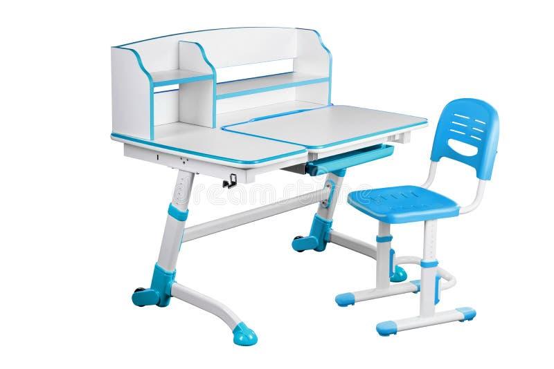 Blå skolaskrivbord och blåttstol stock illustrationer