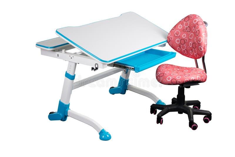 Blå skolaskrivbord och blåttstol vektor illustrationer