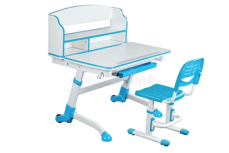 Blå skolaskrivbord och blåttstol royaltyfri illustrationer