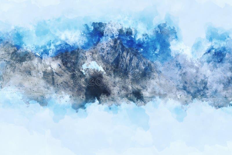 Blå skuggabild av berget Digital vattenfärgmålning på wh royaltyfri illustrationer