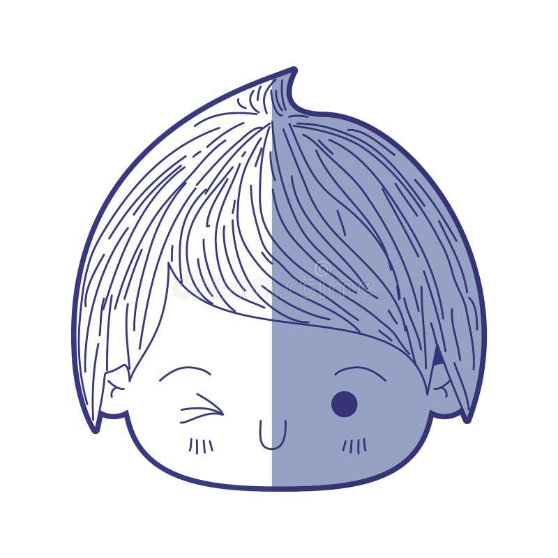 Blå skuggande kontur av kawaiihuvudet av pysen som blinkar ögat vektor illustrationer