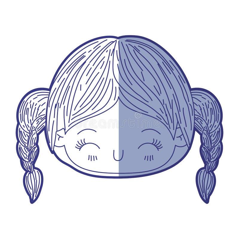 Blå skuggande kontur av kawaiihuvudlilla flickan med flätad hår- och ansiktsuttrycklycka med stängda ögon royaltyfri illustrationer