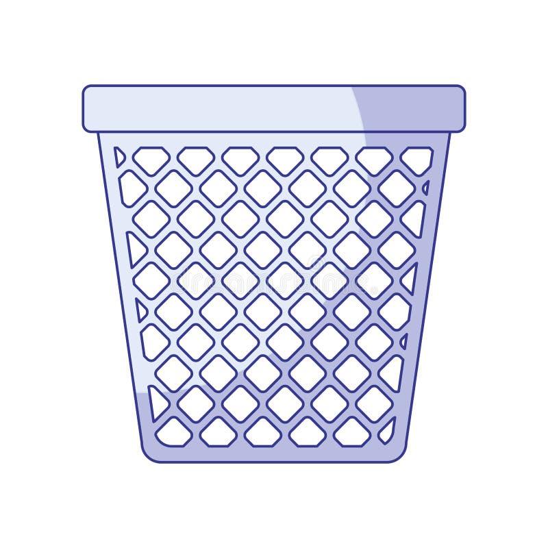 Blå skuggande kontur av kontorssoptunnan stock illustrationer