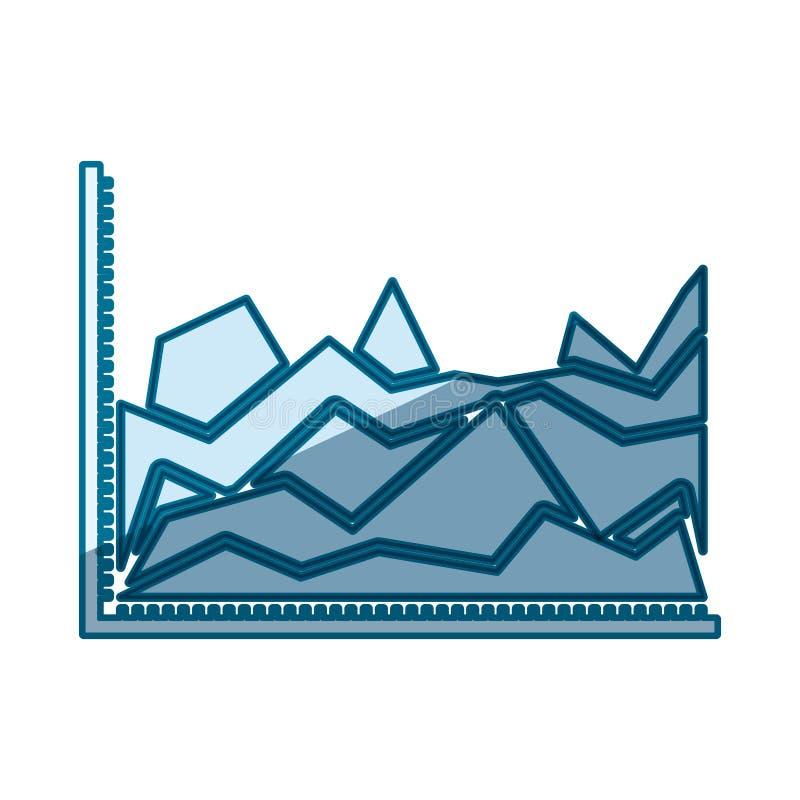 Blå skuggande kontur av statistiska grafer i form av maximumet royaltyfri illustrationer