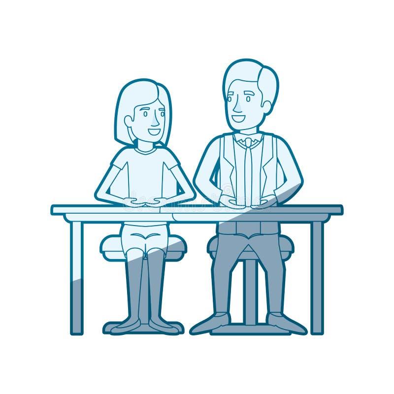 Blå skuggande kontur av teamwork av kvinnan och man som sitter i skrivbord och henne med kort hår och honom i formell dräkt vektor illustrationer