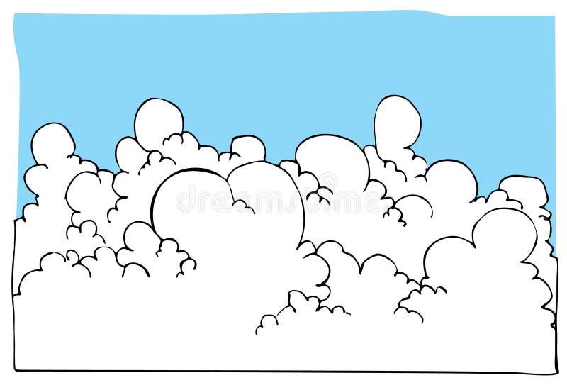 blå sky för tecknad filmcloudscapeillustration royaltyfri illustrationer