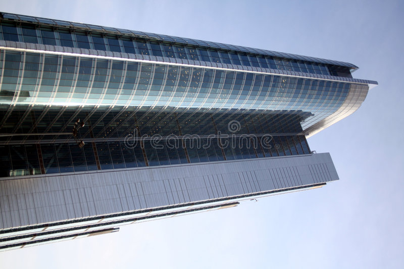 blå skyskrapa royaltyfri bild
