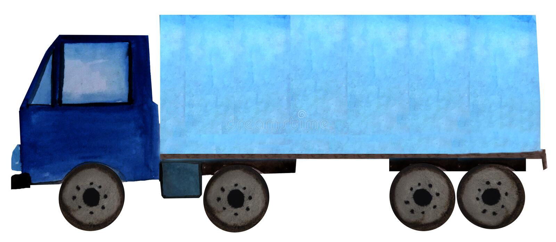 Blå släplastbil för vattenfärg på en vit bakgrund Rasterillustration f?r design stock illustrationer