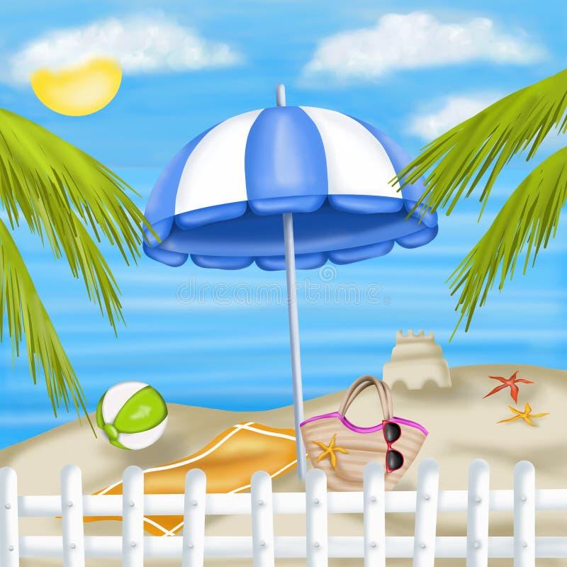 Blå slags solskydd på stranden vektor illustrationer