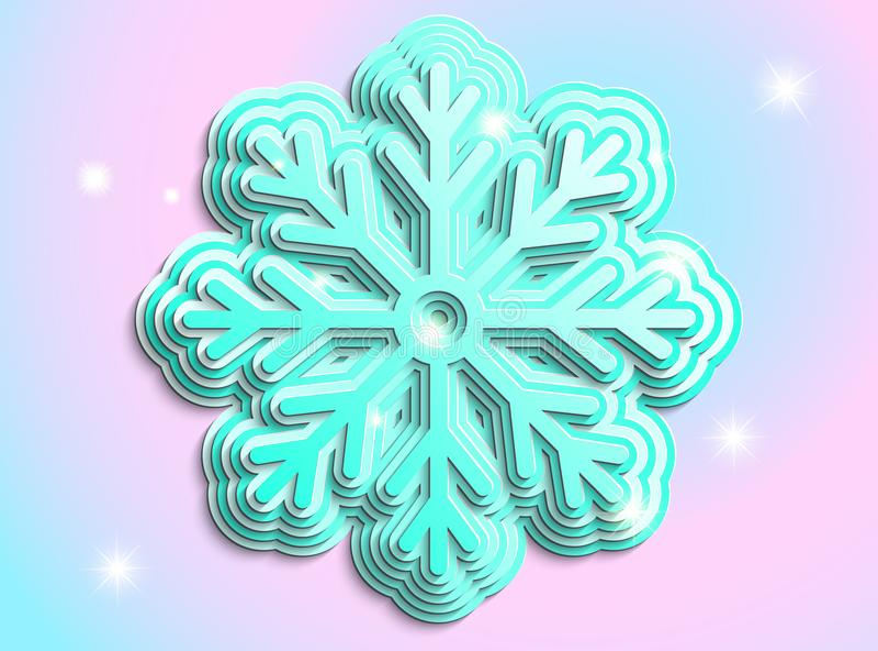 Blå snöflinga på en snöflinga arkivfoton