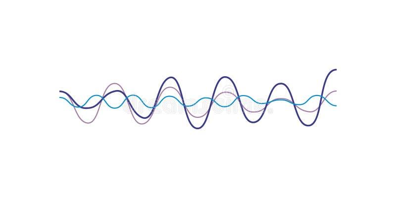 Blå solid våg, ljudsignal digital utjämnareteknologi, musikalisk pulsvektorillustration på en vit bakgrund stock illustrationer
